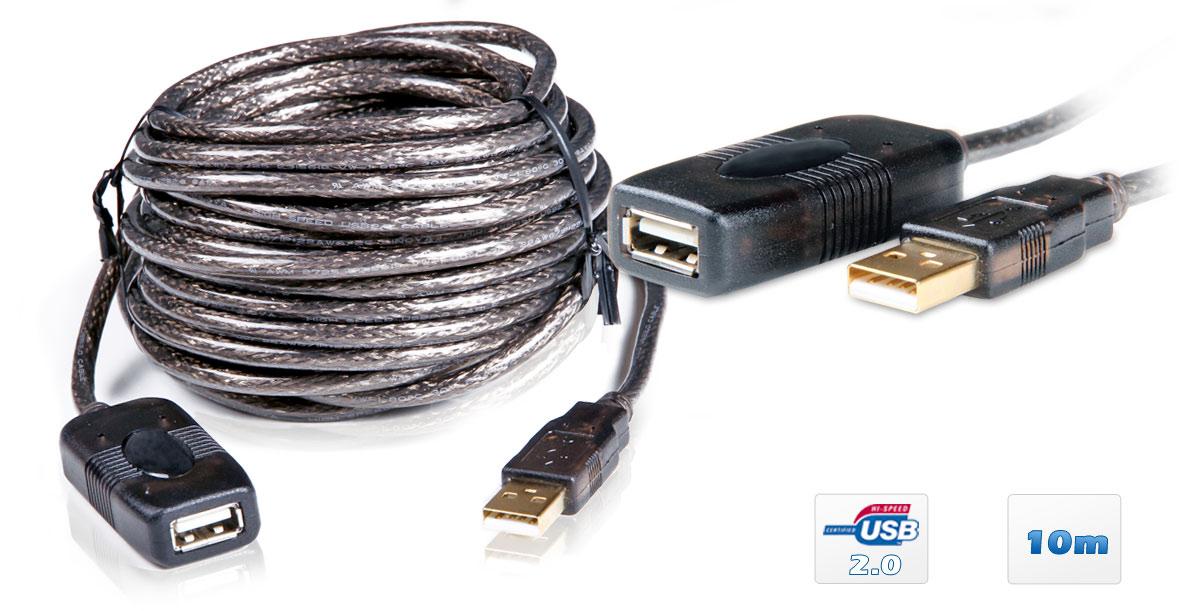 10 meter aktiv usb 2 0 verl ngerungskabel repeater kabel. Black Bedroom Furniture Sets. Home Design Ideas