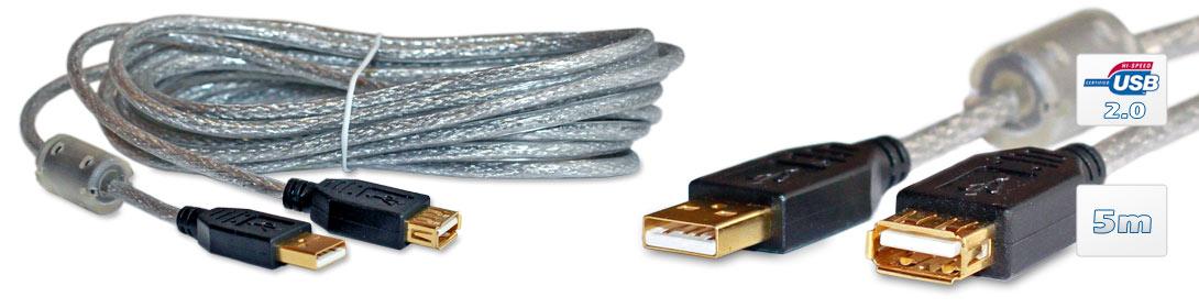 zubeh r kabel stecker verl ngerung usb 2 0 high quality mit ferritkern und goldkontakten hq. Black Bedroom Furniture Sets. Home Design Ideas